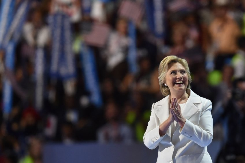 Presidential nominee Hillary Clinton gestures after the fourth and final day of the Democratic National Convention on July 28, 2016 in Philadelphia, Pennsylvania.   / AFP PHOTO / Nicholas Kamm